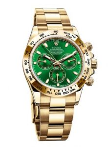 The Rolex Daytona Reference 116508 in yellow gold with green dial